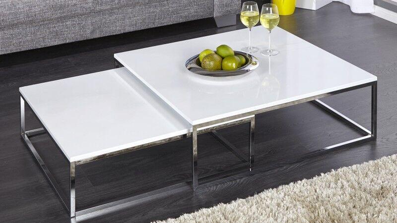 gdegdesign Table basse gigogne carrée laquée blanche et chromée - Wim
