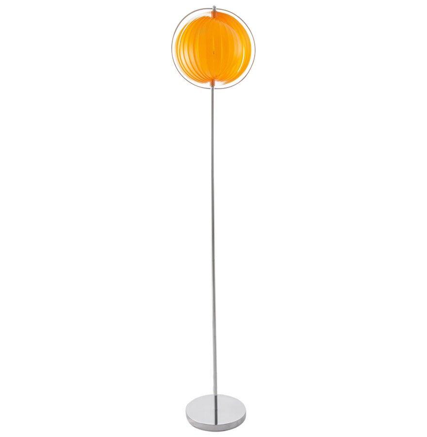 gdegdesign Lampadaire design orange à lamelles - Moon