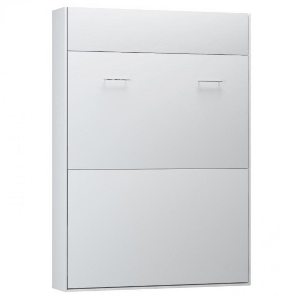 Inside75 Armoire lit escamotable STUDIO Ouverture assistée et pied automatique blanc mat couchage 140*200 cm