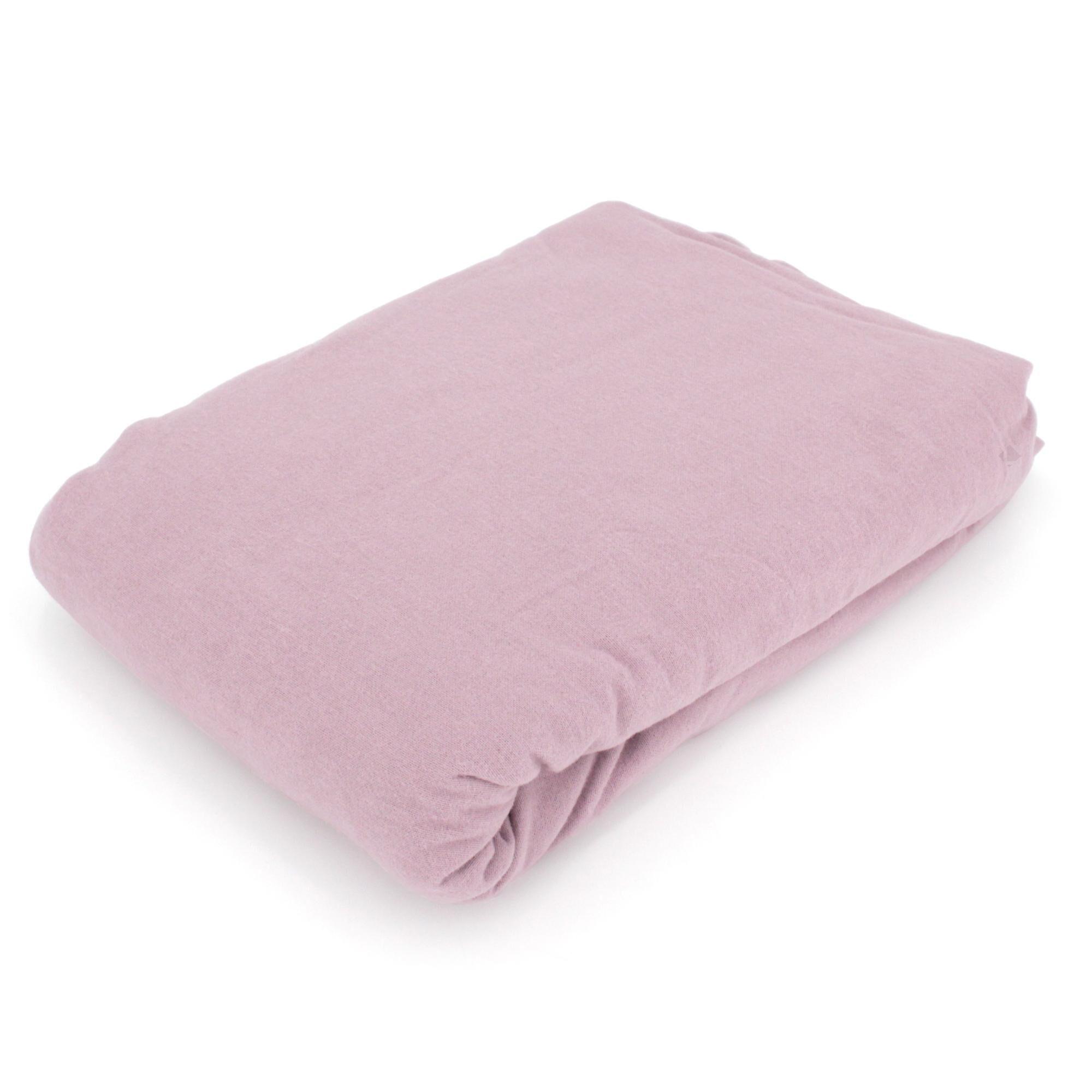 Linnea Drap housse flanelle unie 140x190 cm 100% coton WALES rose
