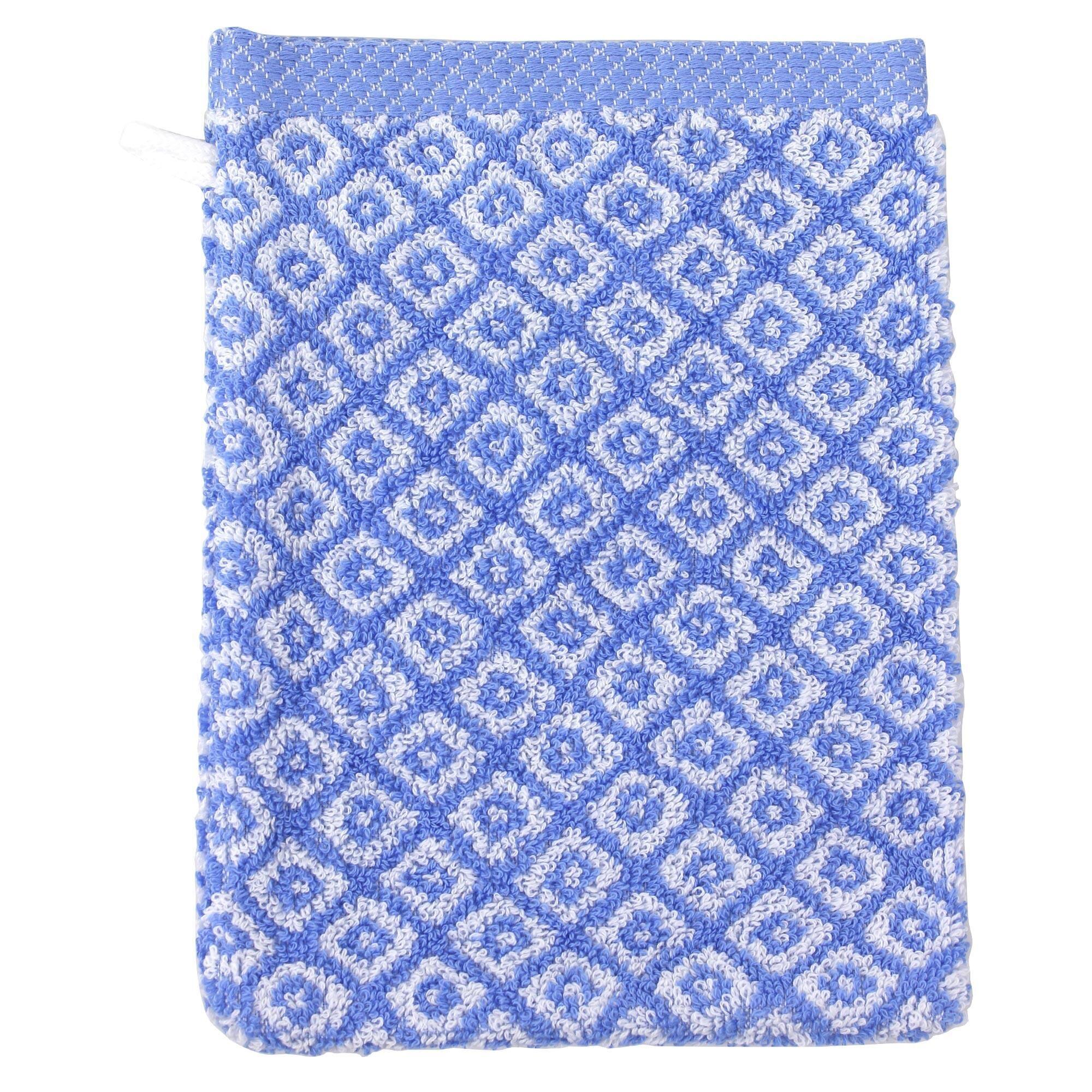 Linnea Gant de toilette 16x21 cm SHIBORI mosaic Bleu 500 g/m2