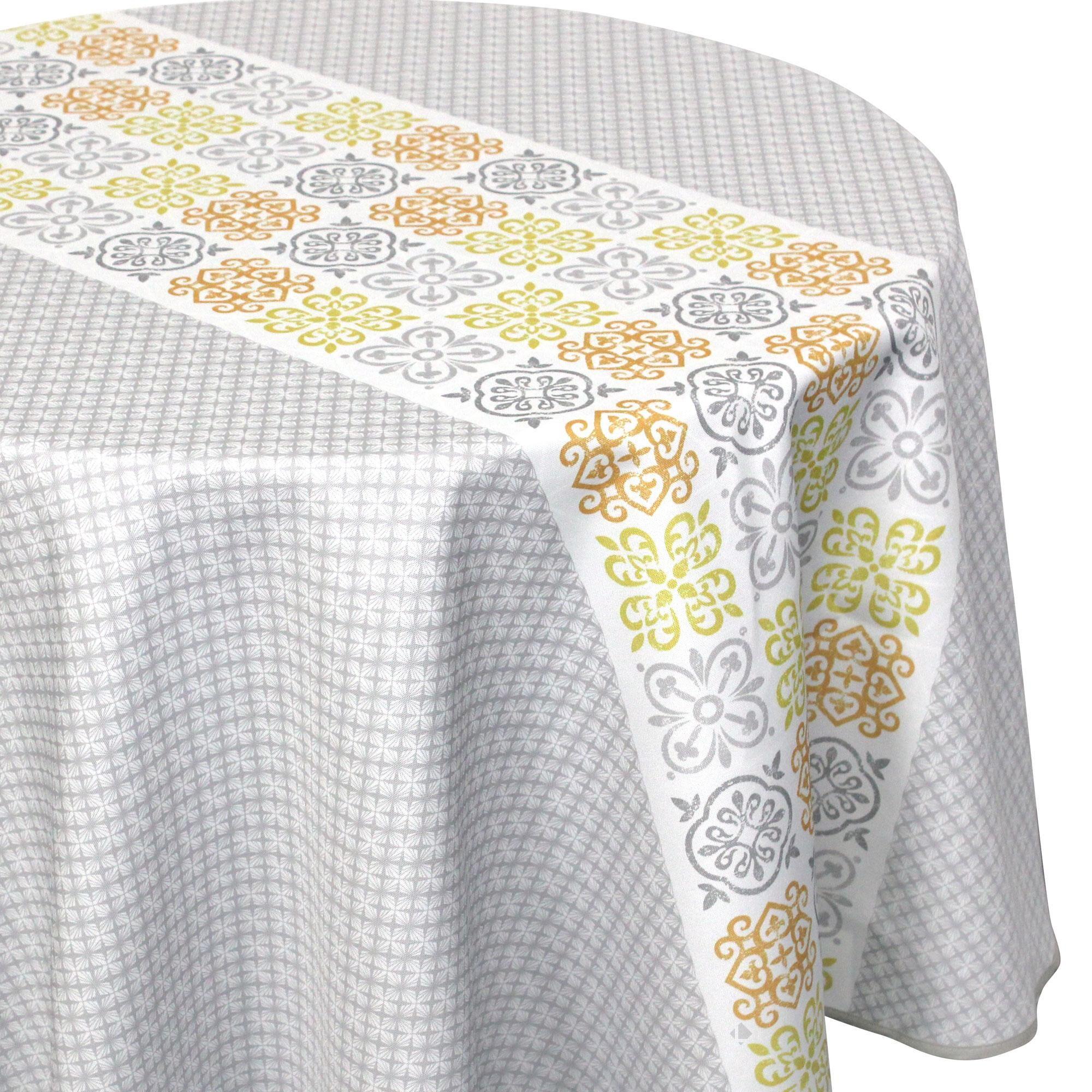 Linnea Nappe ronde 180 cm imprimée 100% polyester CARO géométrique gris