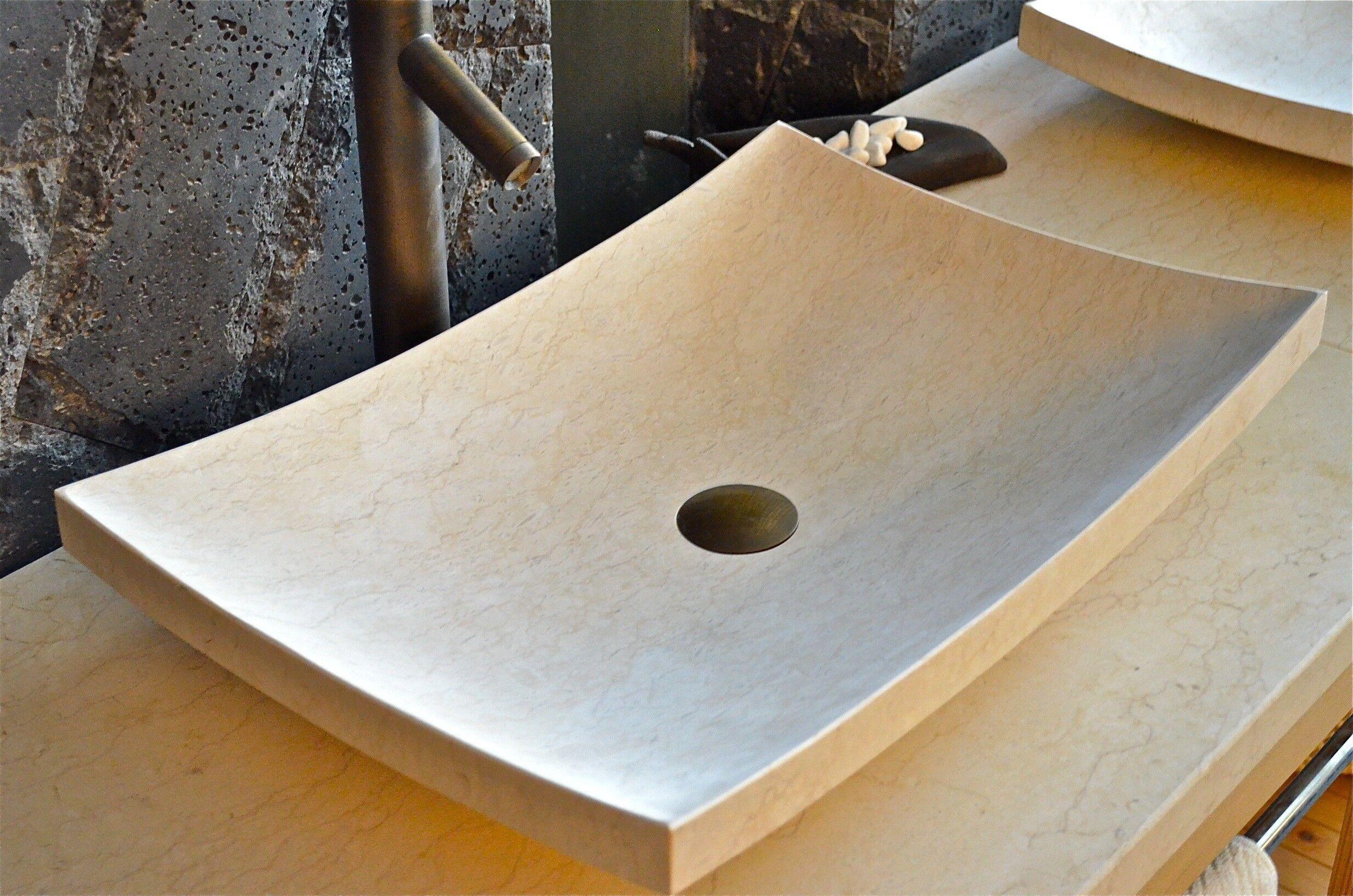 LivingRoc Vasque salle de bain en pierre 60X40 marbre Égyptien - ESNA