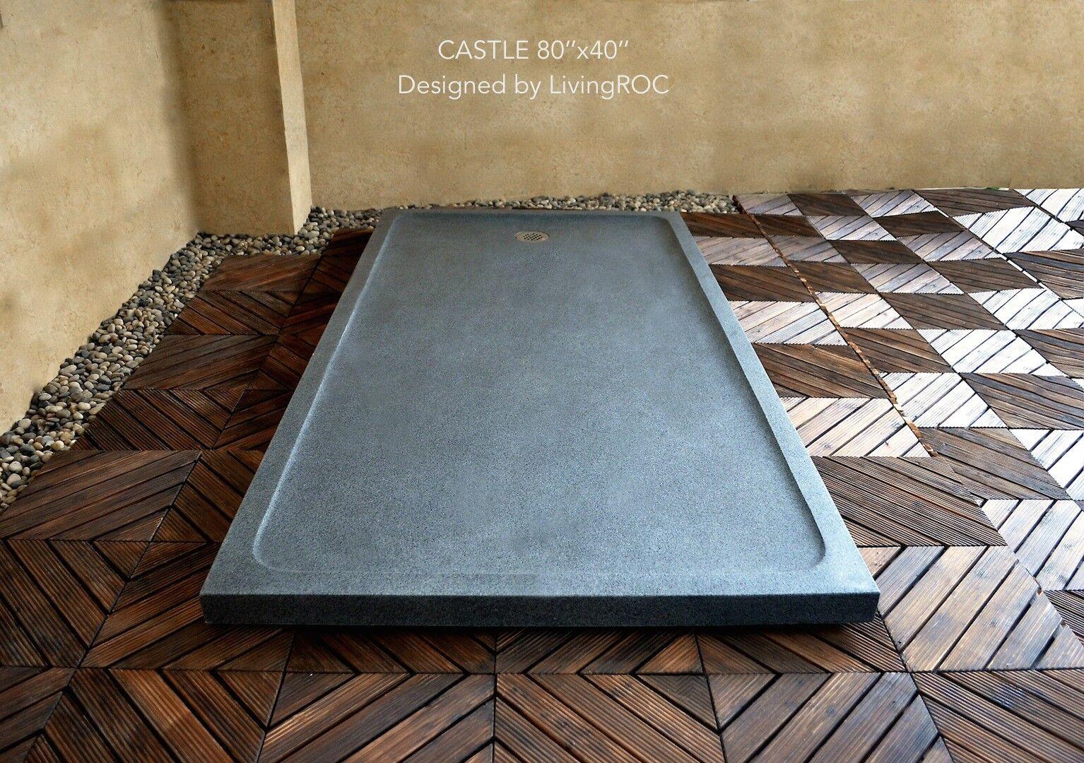 LivingRoc Receveur de douche Pierre geant 200x100 taille dans le granit CASTLE