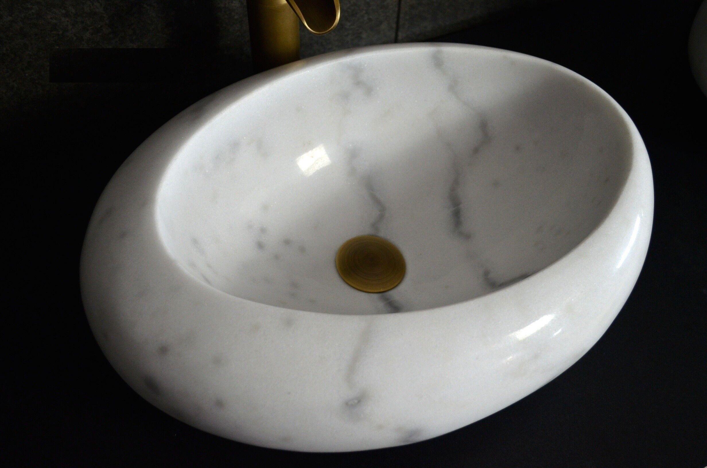 LivingRoc Vasque en pierre a poser marbre Blanc COCOON WHITE