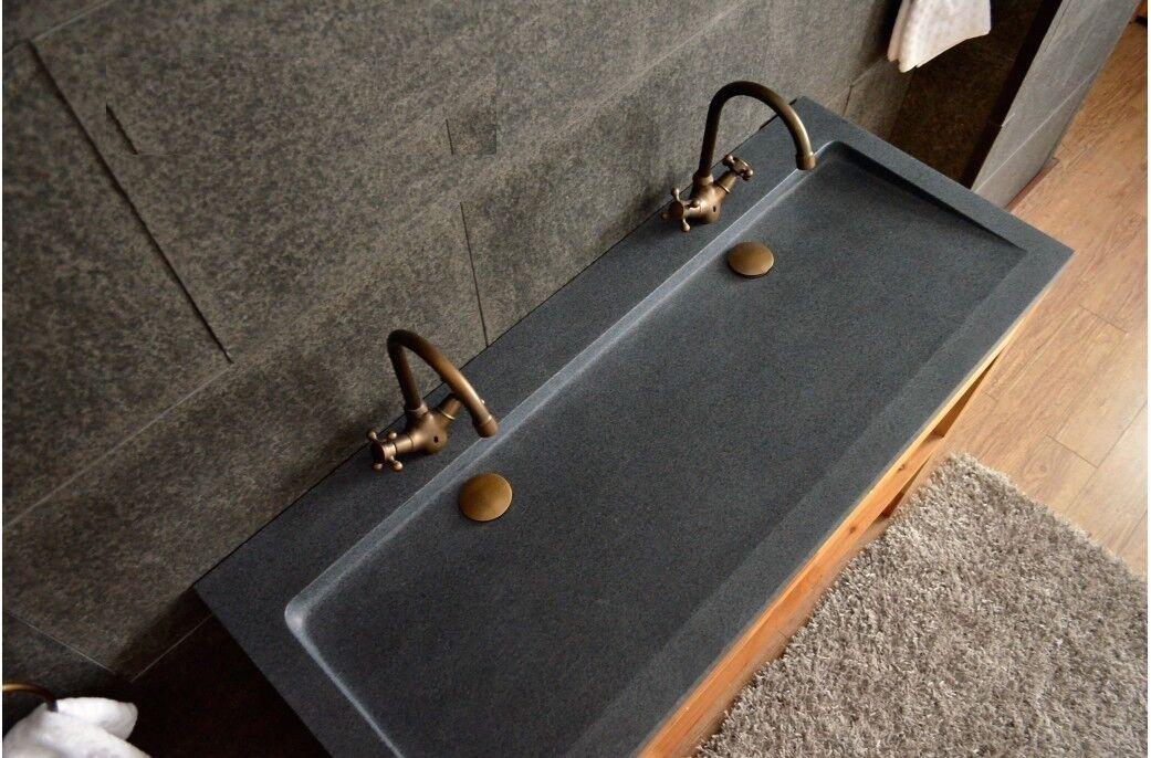 LivingRoc Double vasque en pierre 140x50 granit gris véritable LOVE