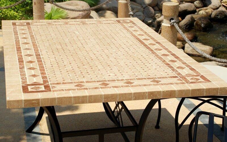 LivingRoc Table de jardin Table mosaique en pierre naturelle 160-200-240 TOSCANE