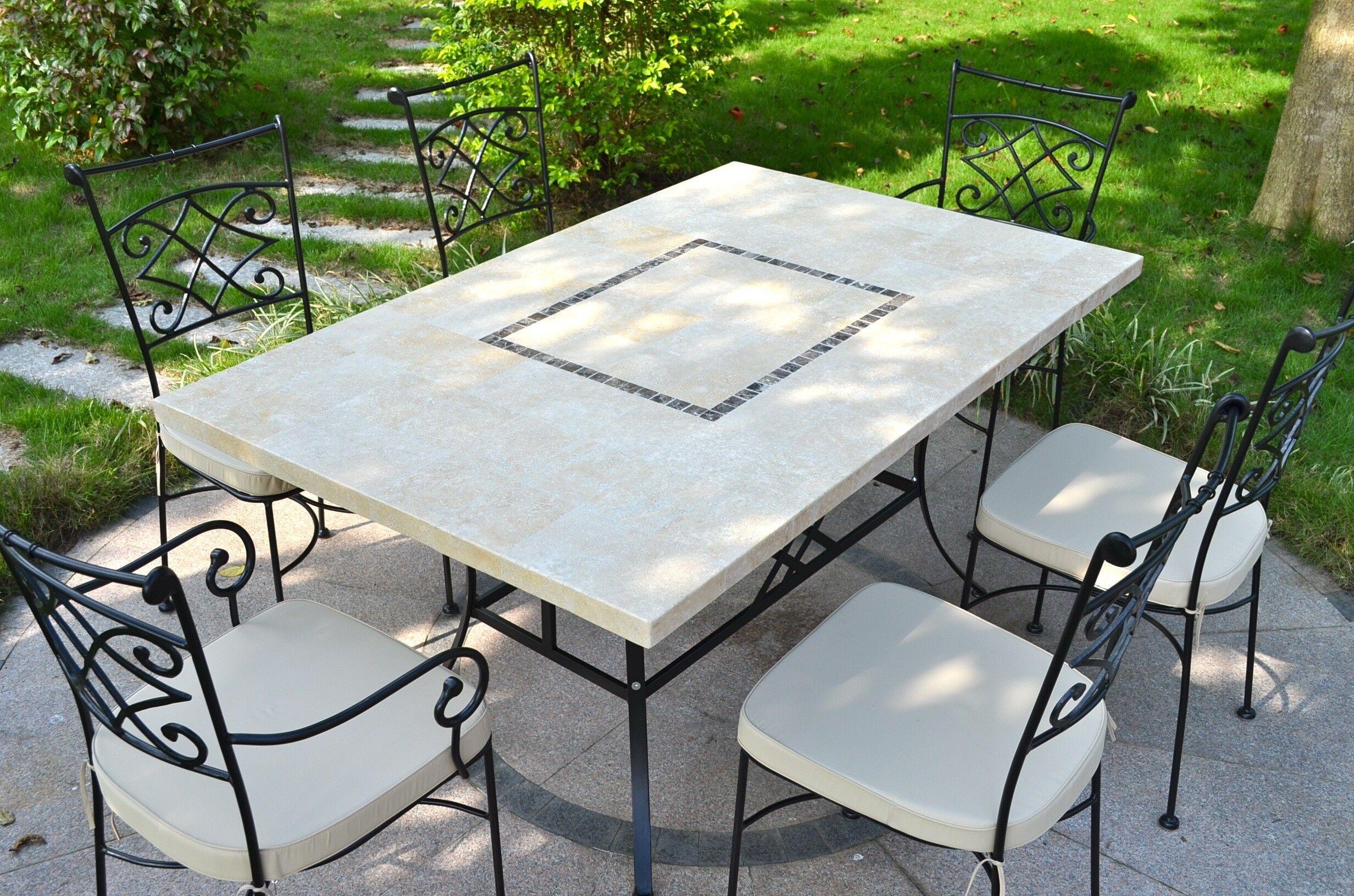 LivingRoc Table jardin pierre naturelle 160-200 mosaique marbre MONTE CARLO