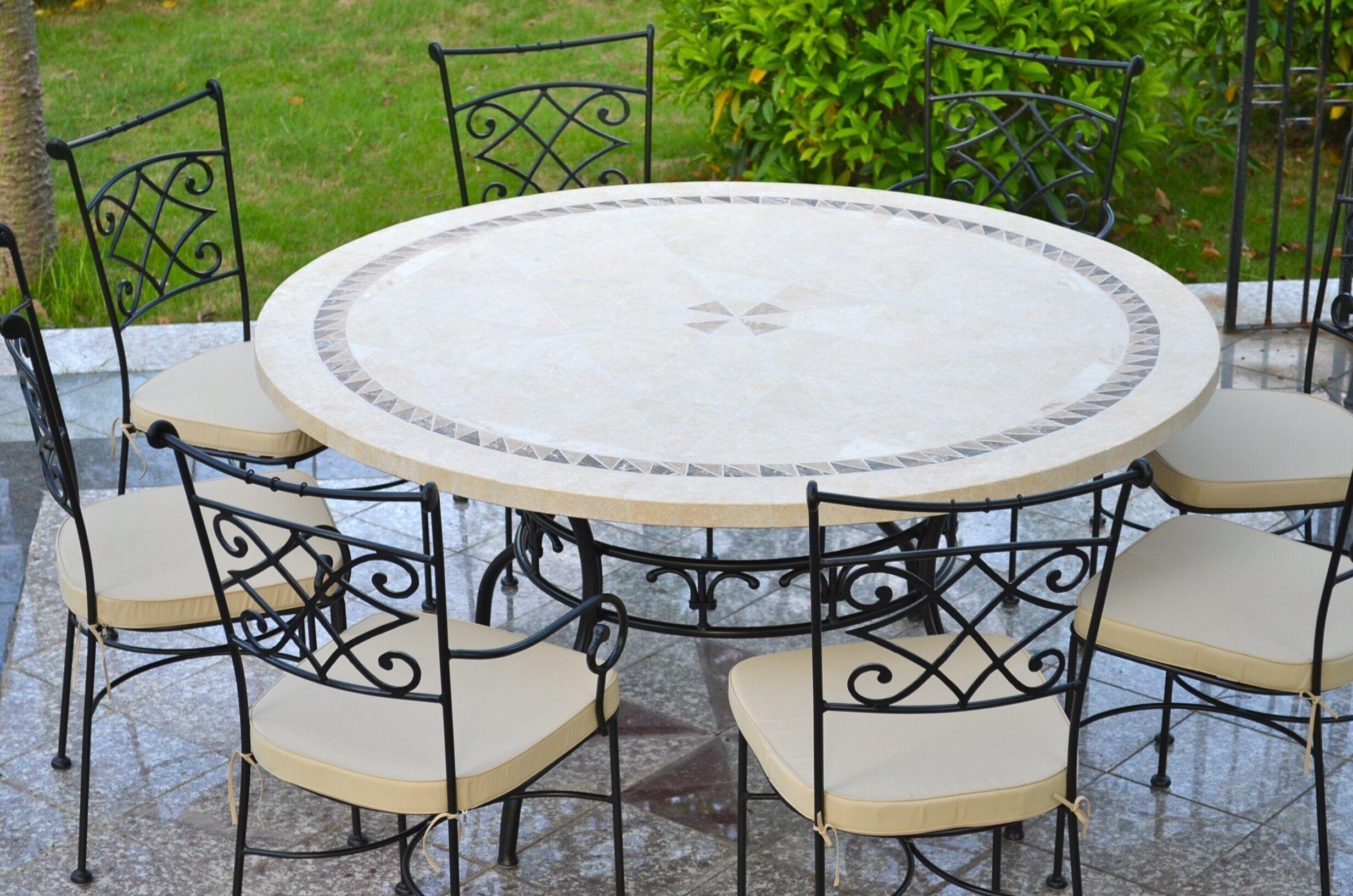 LivingRoc Table de jardin mosaïque ronde en pierre marbre 90-125-160 IMHOTEP