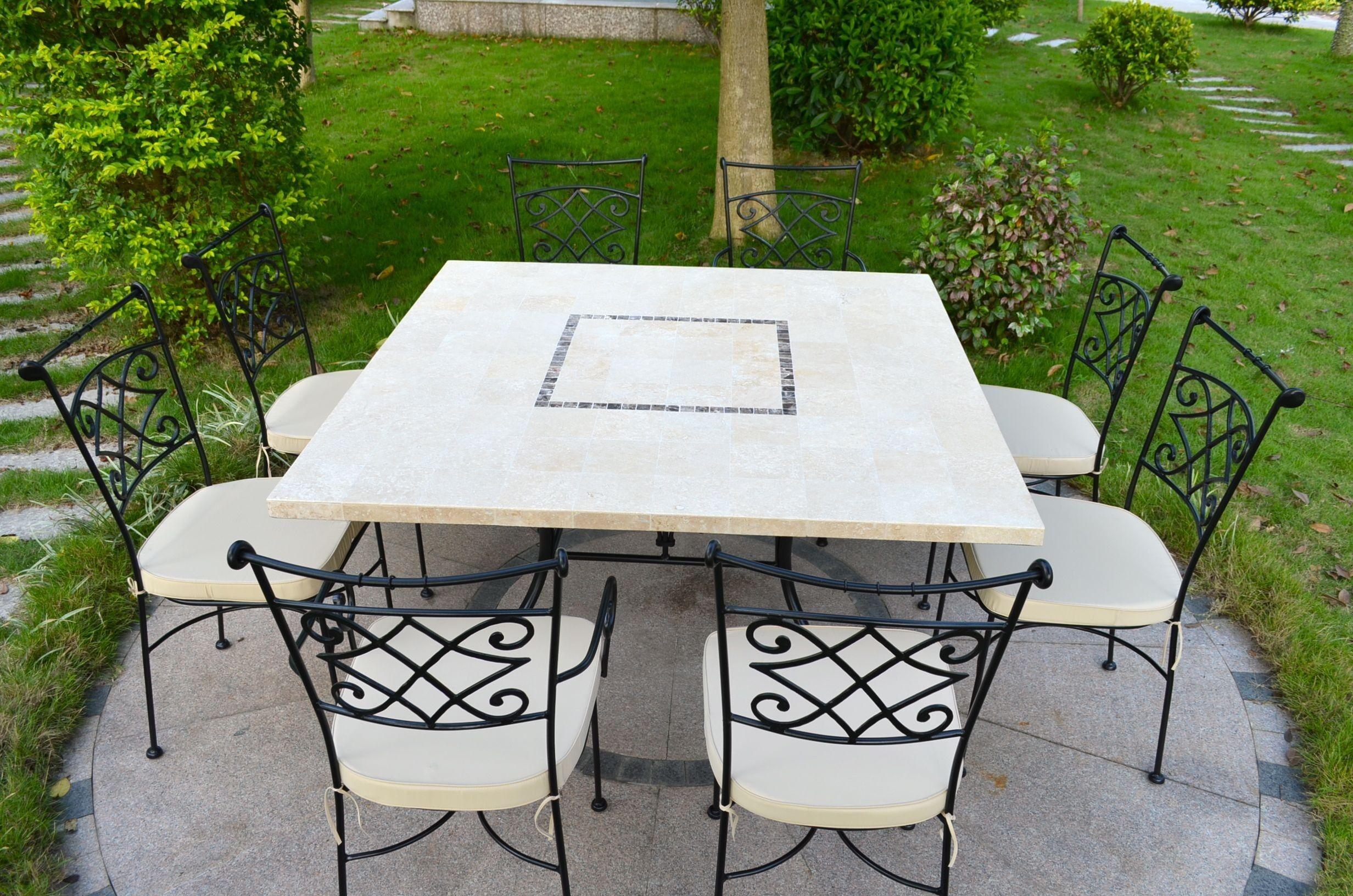 LivingRoc Table de jardin en pierre mosaique de Travertin carree 140 CAPRI