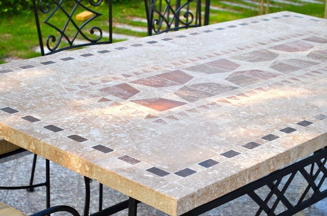LivingRoc Table de jardin mosaique pierre naturelle 160-200-240 TAMPA