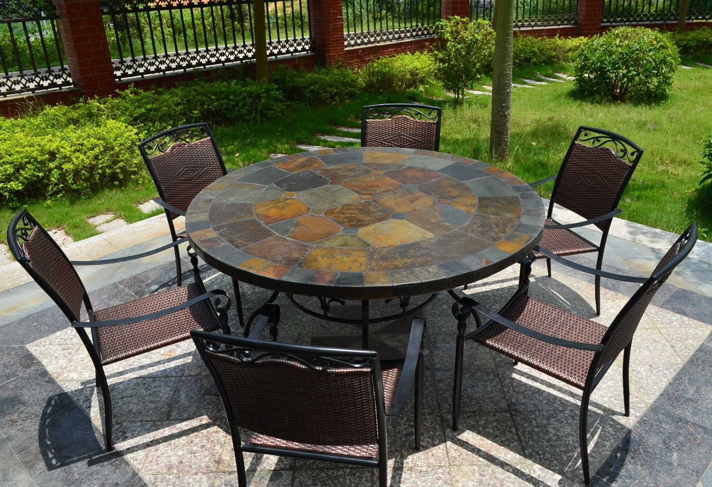 LivingRoc Table de jardin ronde mosaique d'ardoise 125-160 OCEANE