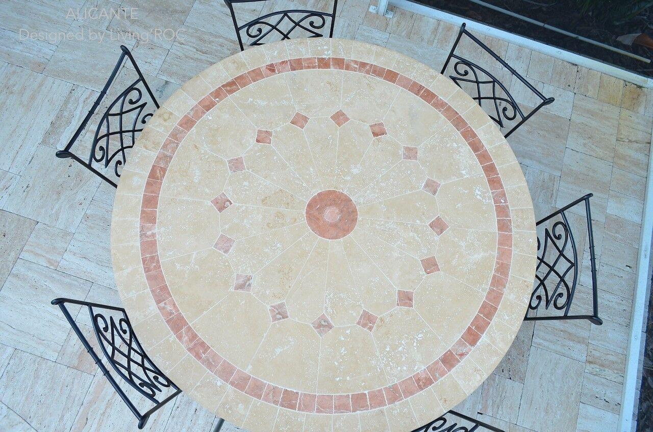 LivingRoc Table de jardin mosaique de marbre ronde 125 160cm ALICANTE