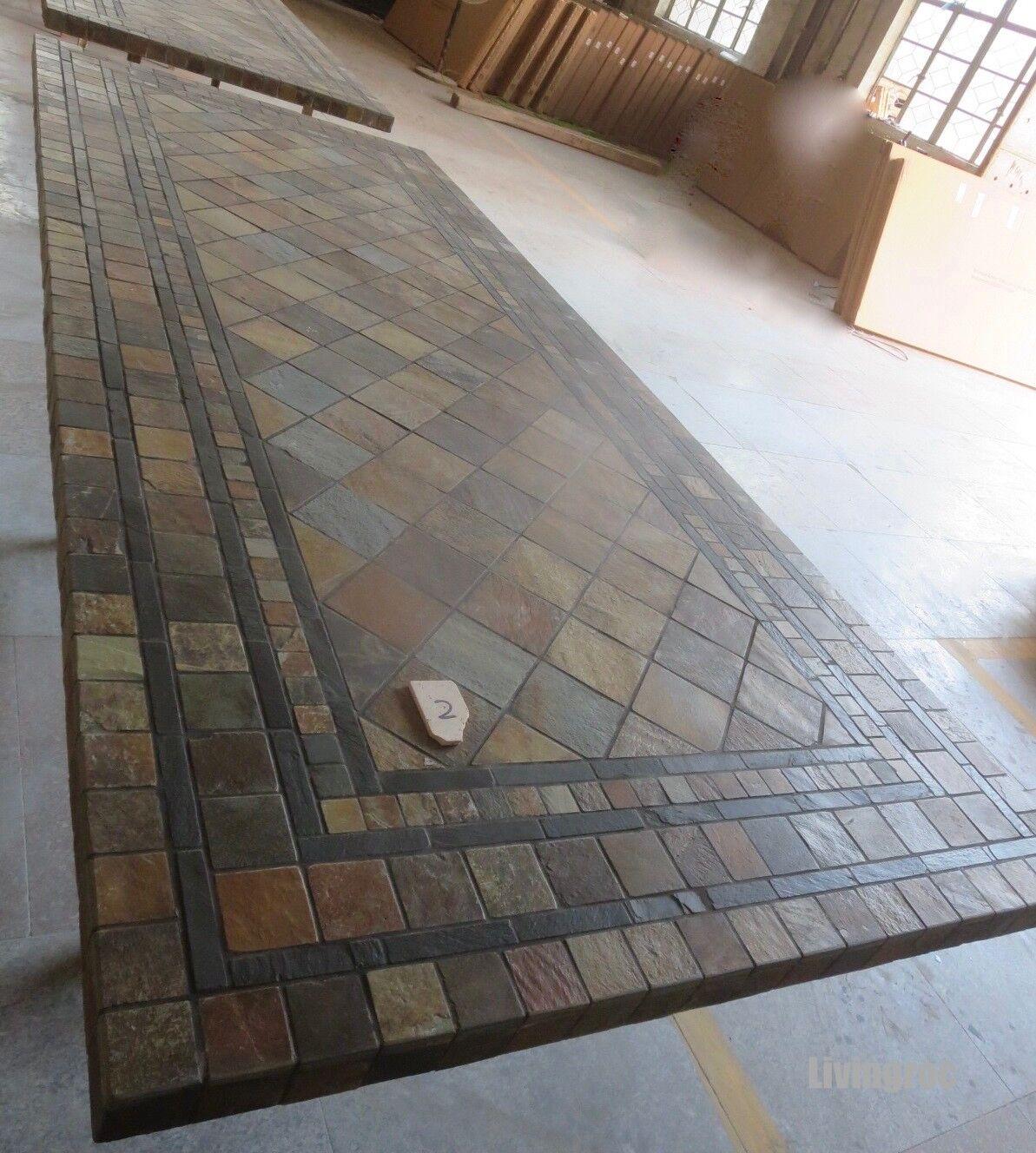 LivingRoc Table de jardin mosaïque ardoise décorative 160-200 ERABLE