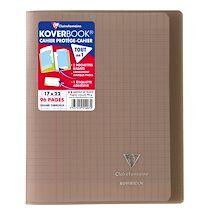 Cahier piqué Koverbook 17x22cm 96 pages grands carreaux couverture polypropylène transparent - Gris - Lot de 10