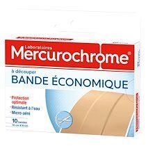 Mercurochrome Boîte de 10 bandes à découper économique 10x6 cm Mercurochrome
