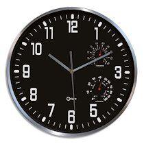 Horloge Thermo-Hygro à cadran Noir chiffres Blancs, en aluminuim, Quartz sweep, D30 cm x P5 cm