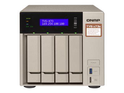 QNAP TVS-473e - Serveur NAS - 4 Baies - SATA 6Gb/s - RAID 0, 1, 5, 6, 10, JBOD, disque de réserve 5, 6 disques de secours, disque de réserve 10, disque de réserve 1 - RAM 8 Go - Gigabit Ethernet - iSCSI