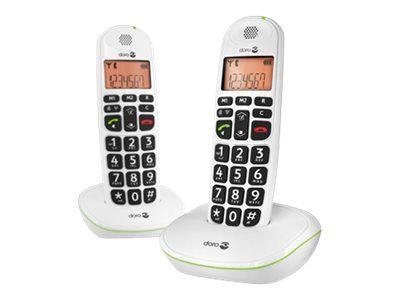 Doro PhoneEasy 100W Duo - Téléphone sans fil avec ID d'appelant - DECT\GAP - blanc + combiné supplémentaire