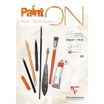 Clairefontaine Paint'ON bloc collé 40F A5 250g - Blanc - Lot de 4