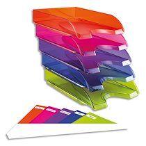 Lot 5 corbeilles à courrier Happy. Documents jusqu'au format 24 x 32 cm et les pochettes à élastique