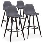 menzzo  MENZZO Lot de 4 chaises de bar Jody Tissu Gris Chaises de bar Coloris... par LeGuide.com Publicité