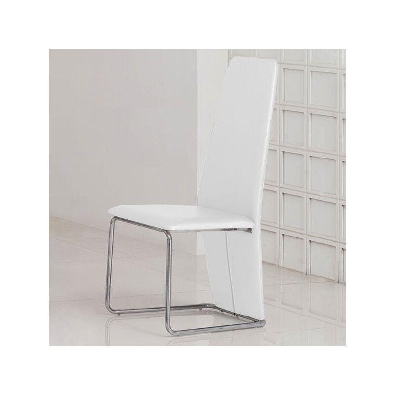 Distribain IZZY Lot de 4 chaises blanches