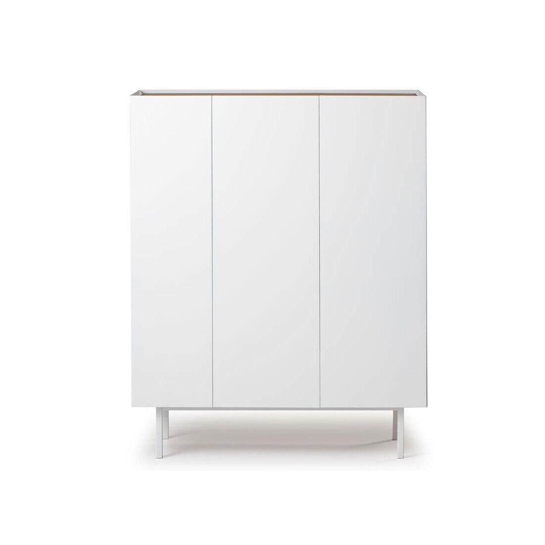 Tousmesmeubles Meuble bar 3 portes Blanc/Chêne - MELYS - L 95 x l 40 x H 120