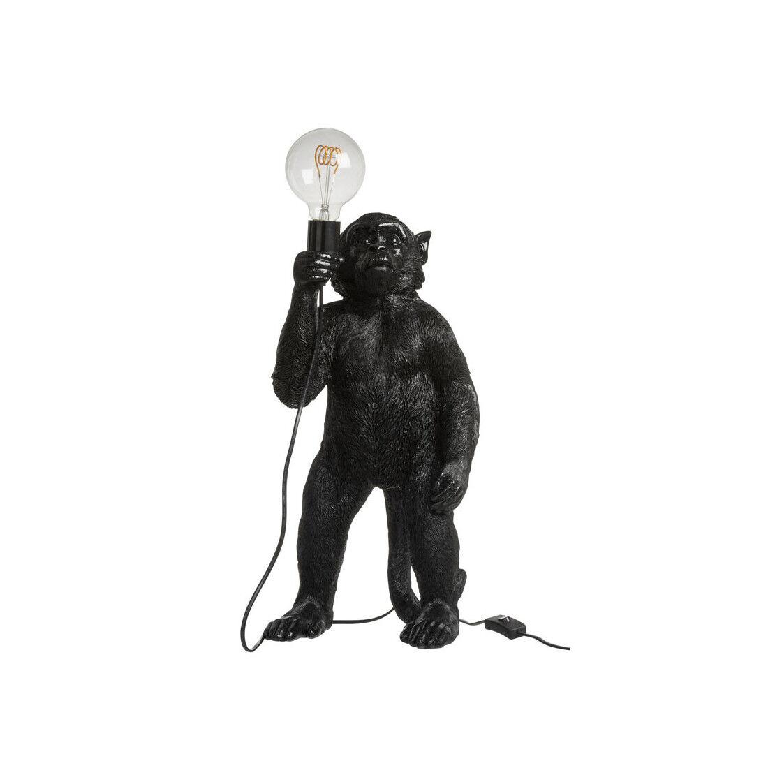 Tousmesmeubles Lampe à poser singe Résine noir - OUISTITI - L 26.5 x l 25 x H 55