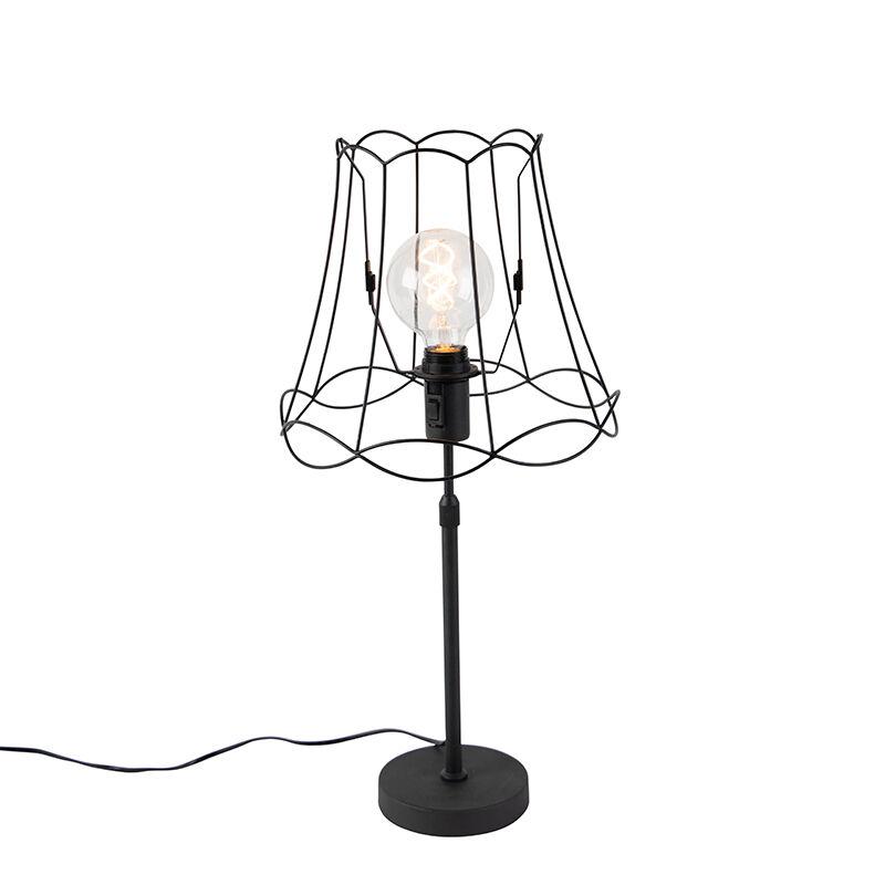 QAZQA Lampe de table noir avec Granny Frame réglable 30 cm - Parte