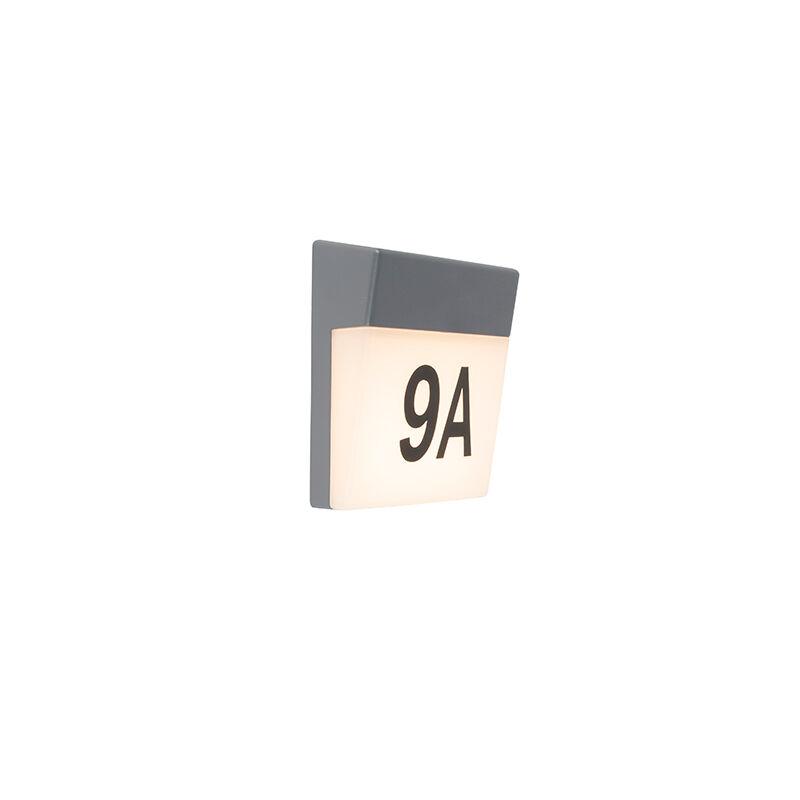 QAZQA Applique murale d'extérieur gris avec LED et numéro de maison IP54 - Numéros