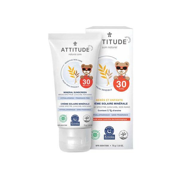 Attitude Tout-Petits Crème Solaire Minérale Bébés et Enfants SPF30 Peau Sensible NEA 75g