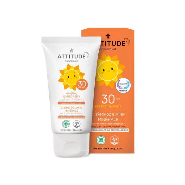Attitude Tout-Petits Crème Solaire Bébés et Enfants Minérale SPF30 Fleur de Vanille 150g