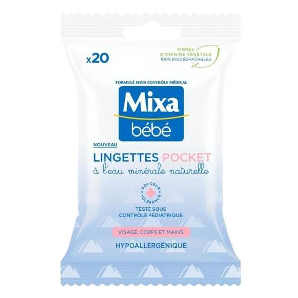 Mixa Bébé Lingettes Pocket à l'Eau Minérale Naturelle 20 unités