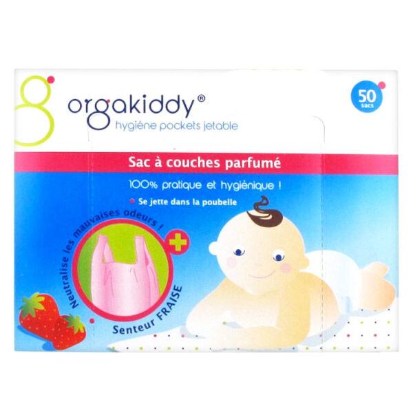 Orgakiddy Sac à Couches Parfumé Fraise 50 Unités
