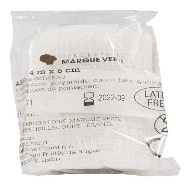 Marque Verte Absohaft Bande Extensible Cohésive sous Cello 4m X 6cm 1 unité