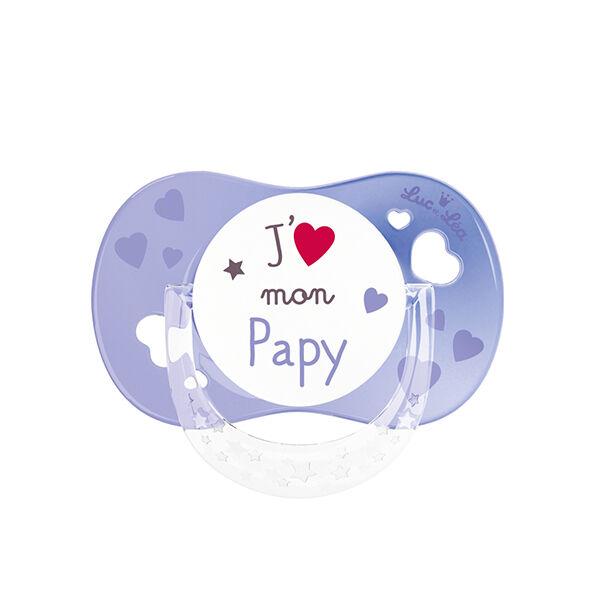 Luc et Léa Sucette Silicone Symétrique 6 mois+ J'aime Mon Papy Violette avec Anneau