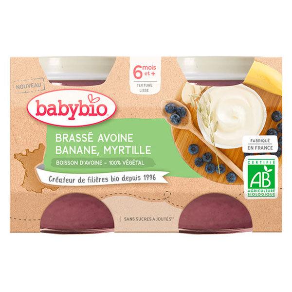 Babybio Douceur de Lait Pot au Lait d'Avoine Banane Myrtille +6m Bio Lot de 2 x 130g