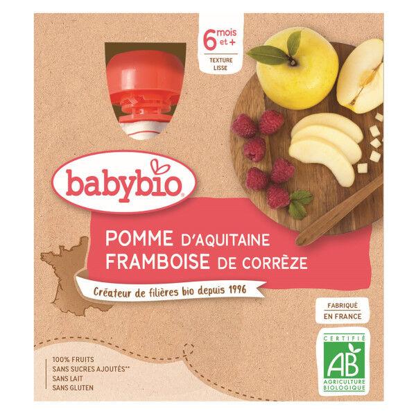 Babybio Mes Fruits Gourde Pomme Framboise +6m Bio 4 x 90g