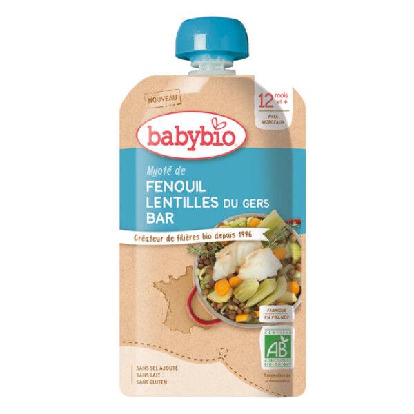 Babybio Menu du Jour Gourde Mijoté de Fenouil Lentilles du Gers Bar +12m Bio 180g