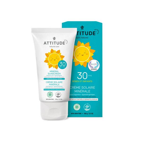 Attitude Tout-Petits Crème Solaire Minérale Bébés et Enfants SPF30 150g