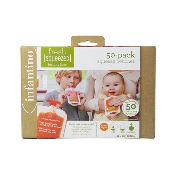 Infantino Repas Recharge 50 sachets + 50 bouchons