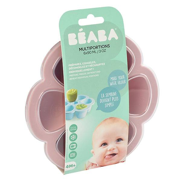 Béaba Portion Multiportions Moule en Silicone Rose 6 x 90ml
