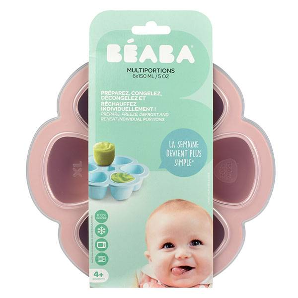 Béaba Portion Multiportions Moule en Silicone Rose 6 x 150ml