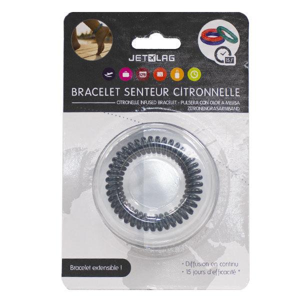 Bracelet Extensible Senteur Citronnelle Silicone Noir