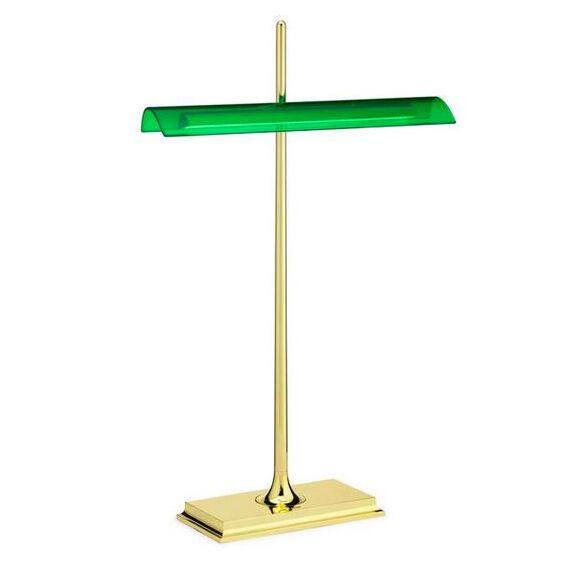 FLOS lampe de table GOLDMAN (Corps laiton, diffuseur vert - Aluminium et méthacrylate)