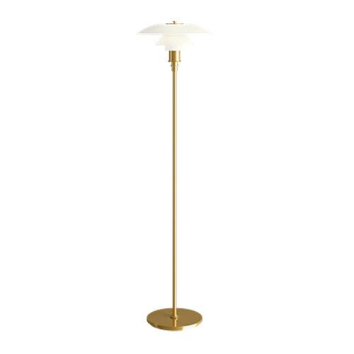 LOUIS POULSEN lampadaire PH 3 1/2 - 2 1/2 (Laiton métallisé - Verre opalin et acier)