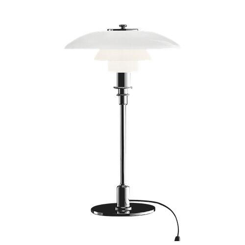 LOUIS POULSEN lampe de table PH 3/2 (Chrome extra brillant - Verre opalin souflé et métal)