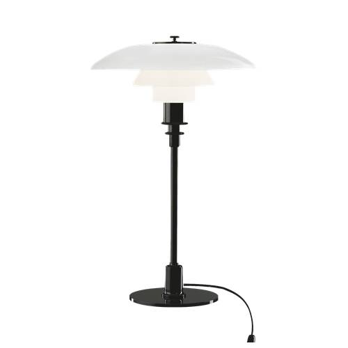 LOUIS POULSEN lampe de table PH 3/2 (Noir métallique - Verre opalin souflé et métal)