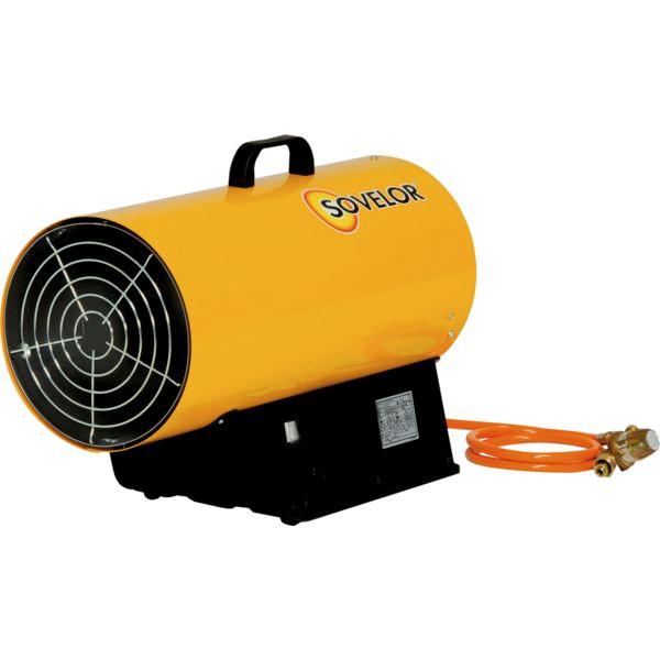 SOVELOR Chauffage air pulsé portable au gaz propane à allumage manuel puissance réglable de 18 à 33 kw